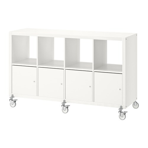 kallax shelf unit on casters with 4 doors white 35x57 7. Black Bedroom Furniture Sets. Home Design Ideas