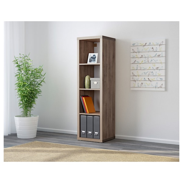 KALLAX Shelf unit, walnut effect light gray, 16 1/2x57 7/8 ""