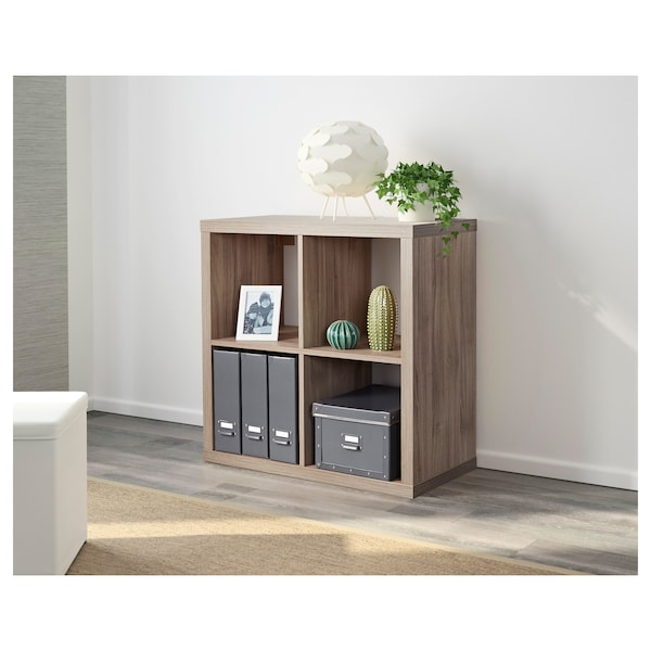 KALLAX Shelf unit, walnut effect light gray, 30 3/8x30 3/8 ""