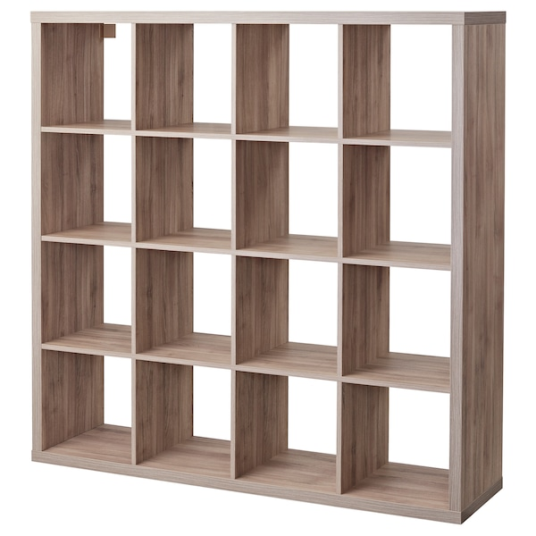 KALLAX Shelf unit, walnut effect light gray, 57 7/8x57 7/8 ""