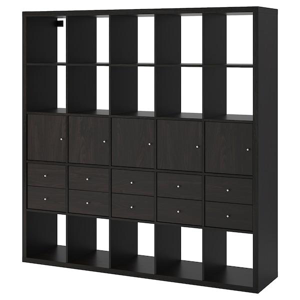 """KALLAX Shelf unit with 10 inserts, black-brown, 71 5/8x71 5/8 """""""