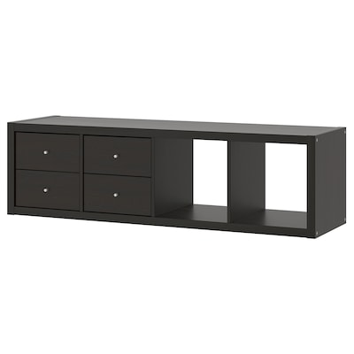 KALLAX Shelf unit with 2 inserts, black-brown, 16 1/2x57 7/8 ""