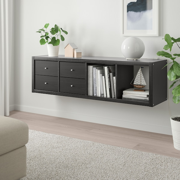 """KALLAX Shelf unit with 2 inserts, black-brown, 16 1/2x57 7/8 """""""