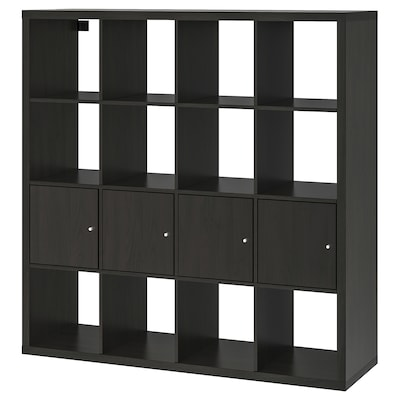 KALLAX Shelf unit with 4 inserts, black-brown, 57 7/8x57 7/8 ""