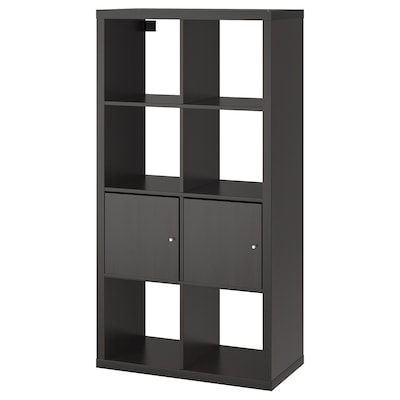 KALLAX Shelf unit with doors, black-brown, 30 3/8x57 7/8 ""