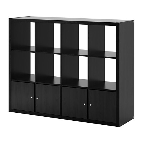 kallax shelf unit with 4 inserts black brown ikea