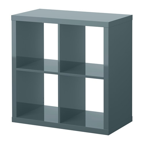 Kallax shelf unit high gloss gray turquoise ikea - Ikea rangement etagere ...