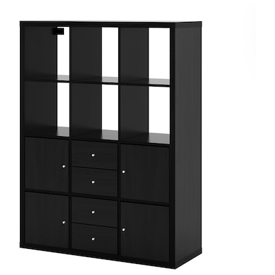 KALLAX Shelving unit with 6 inserts, black-brown, 44 1/8x57 7/8 ""