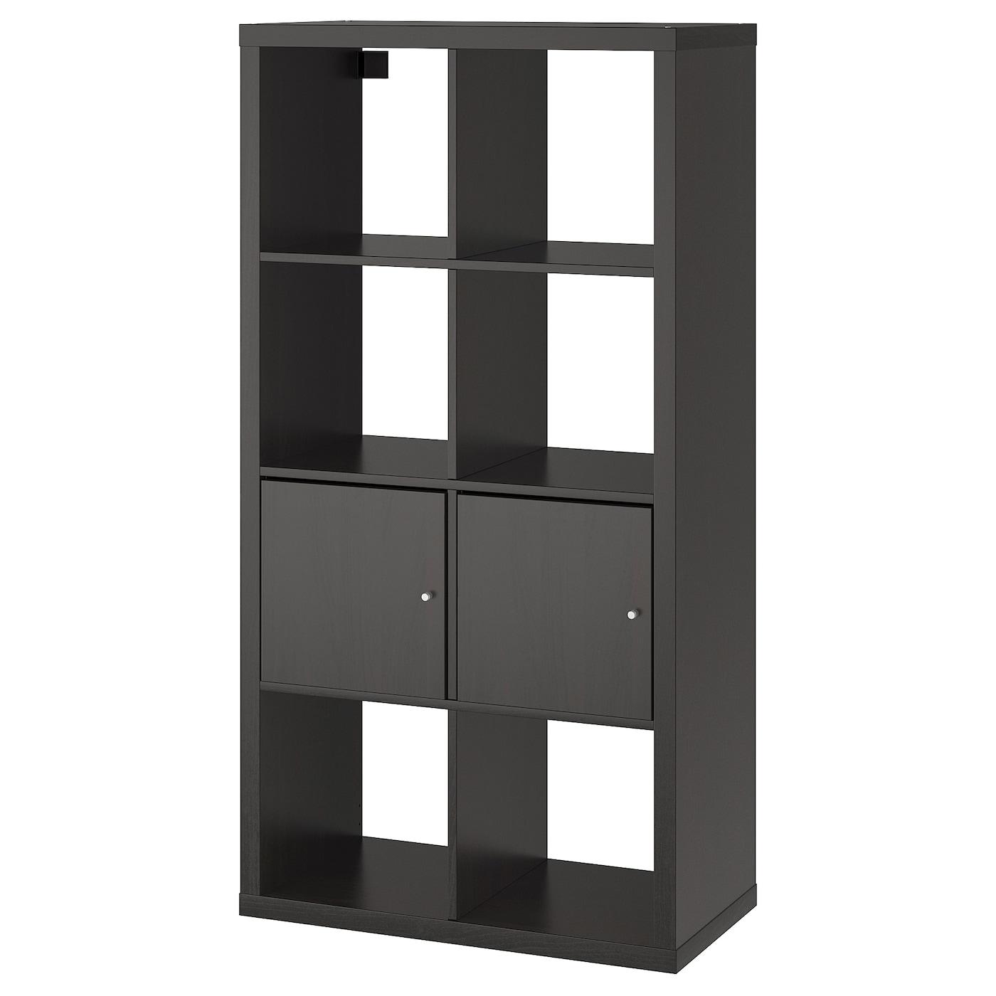 Shelf Unit With Doors Kallax Black Brown