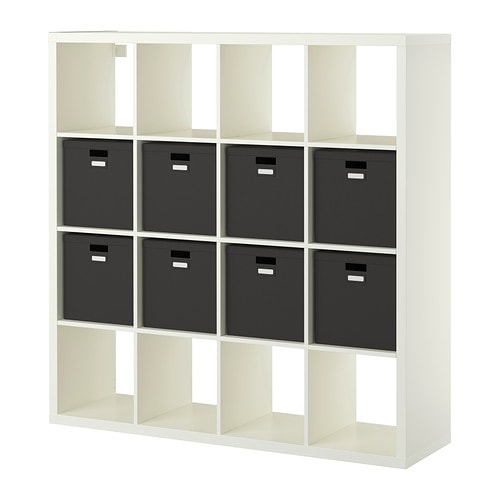 Kallax tjena shelf unit with 8 inserts white ikea for Mueble cuadrados ikea