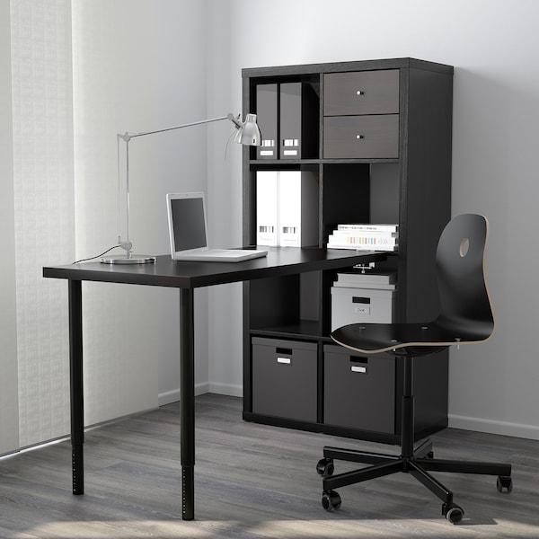 "KALLAX Workstation, black-brown, 30 3/8x57 7/8x62 5/8 """