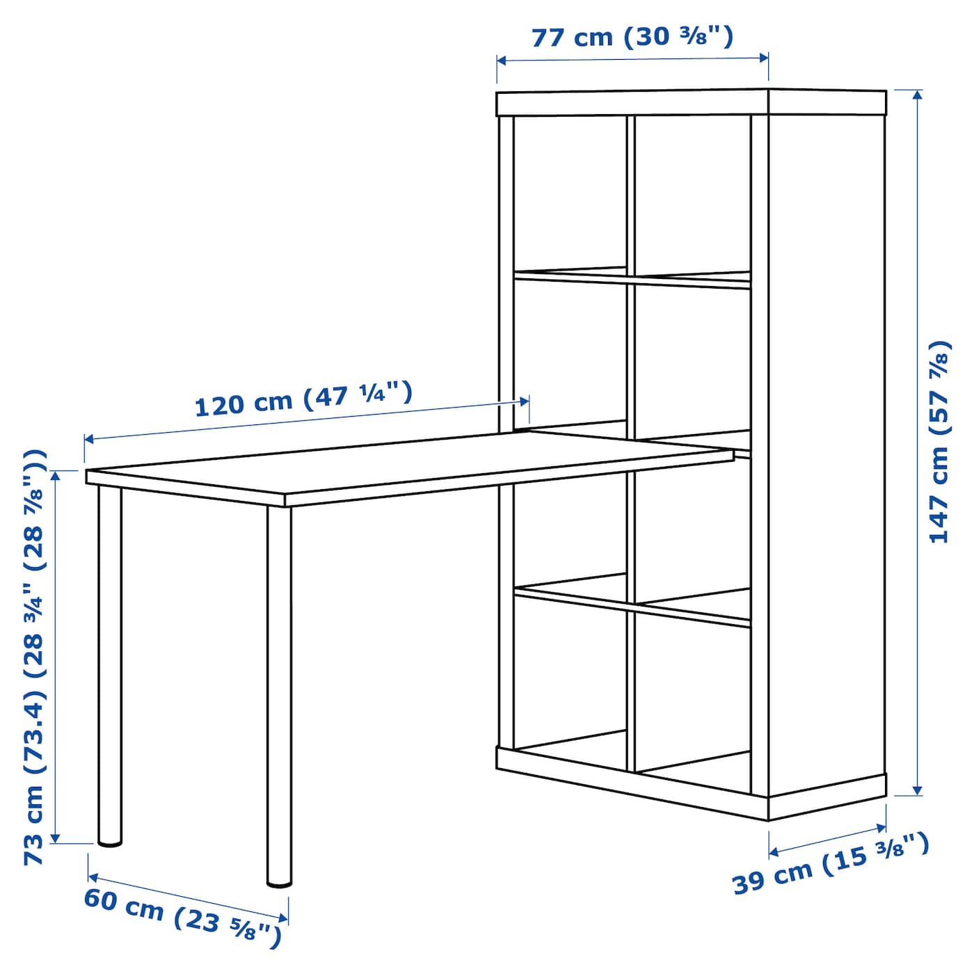 Kallax Workstation White Chrome Plated 30 3 8x57 7 8x62 5 8 Ikea