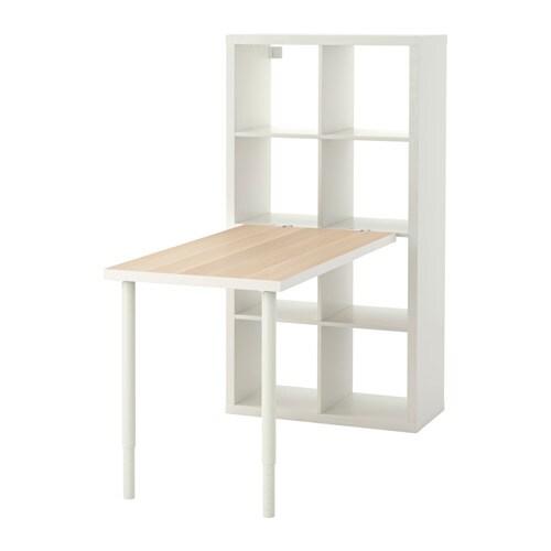 Kallax workstation white stained oak effect white ikea for Table haute rabattable
