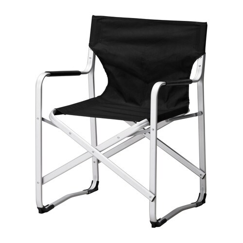 KALVÖ Director's armchair IKEA Rustproof aluminum frame is both sturdy and lightweight.  Folds to save space when not in use.
