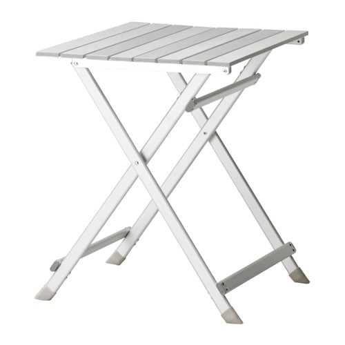 KALVÖ Folding table IKEA Aluminum is lightweight and easy to carry.  The materials in this outdoor furniture require no maintenance.