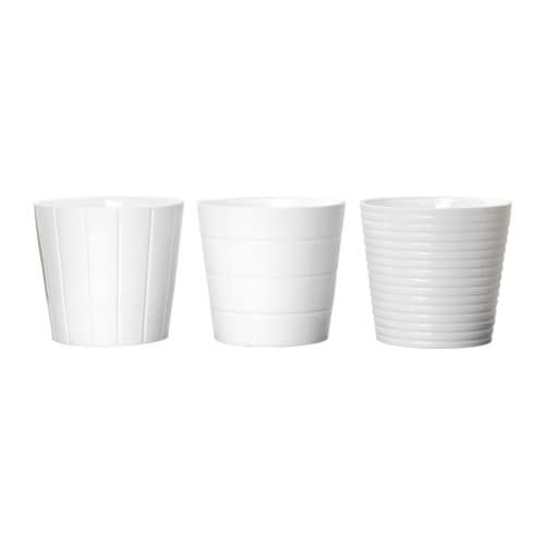 KARDEMUMMA Plant pot , white, assorted patterns Outside diameter: 14 ¼