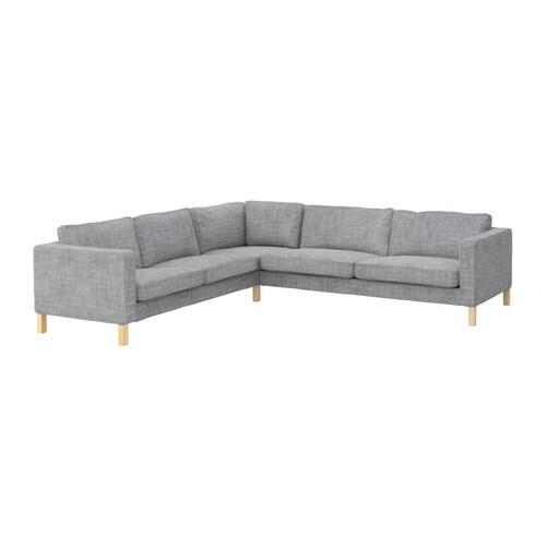 "KARLSTAD Corner sofa 2+3/3+2 gray Depth: 37 "" Width right: 111 "" Width left: 94 7/8 "" Height: 31 1/2 "" Seat depth: 22 "" Seat height: 17 3/4 ""  Depth: 94 cm Width right: 282 cm Width left: 241 cm Height: 80 cm Seat depth: 56 cm Seat height: 45 cm"