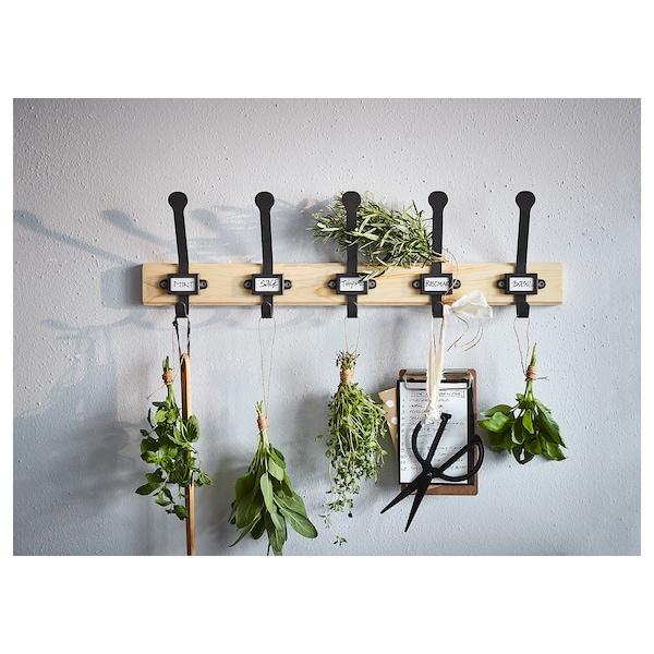 KARTOTEK Rack with 5 hooks, pine/gray