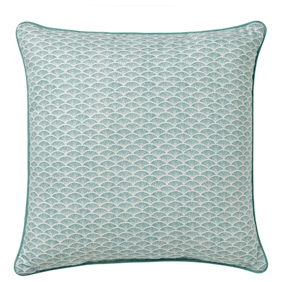 KASKADGRAN Cushion, gray-turquoise/white, 16x16 ""