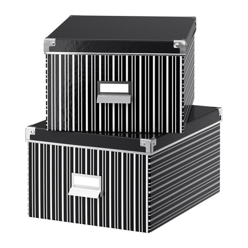 "KASSETT Box with lid for paper black, white Width: 11 "" Depth: 13 ¾ "" Height: 7 "" Package quantity: 2 pack  Width: 28 cm Depth: 35 cm Height: 18 cm Package quantity: 2 pack"