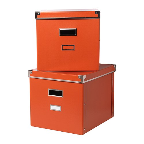 "KASSETT Magazine box with lid, orange Width: 13 "" Depth: 15 "" Height: 11 ¾ "" Package quantity: 2 pack  Width: 33 cm Depth: 38 cm Height: 30 cm Package quantity: 2 pack"