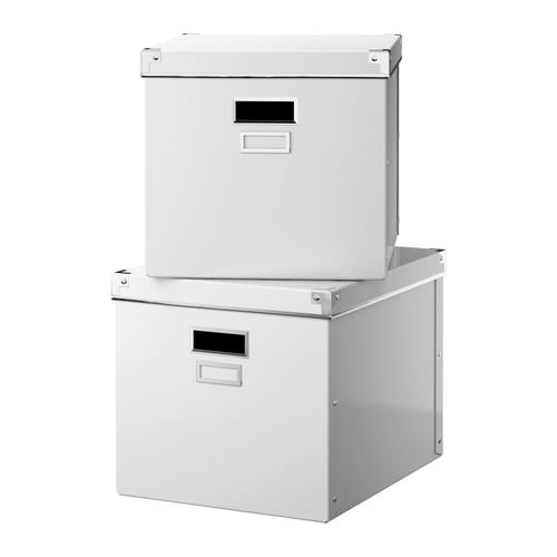 "KASSETT Magazine box with lid, white                             Width: 13 "" Depth: 15 "" Height: 11 ¾ "" Package quantity: 2 pack  Width: 33 cm Depth: 38 cm Height: 30 cm Package quantity: 2 pack"