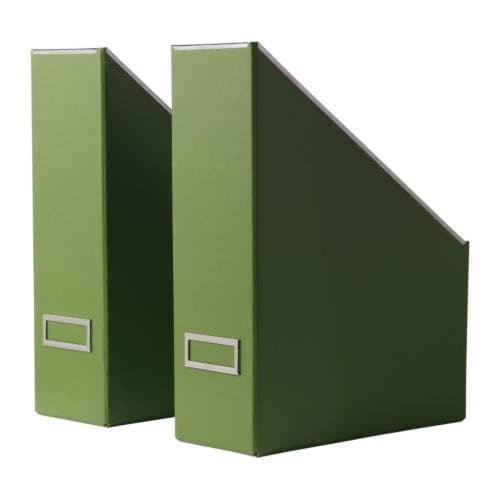 "KASSETT Magazine file, green Width: 4 "" Depth: 9 ¾ "" Height: 12 ½ "" Package quantity: 2 pack  Width: 10 cm Depth: 25 cm Height: 32 cm Package quantity: 2 pack"