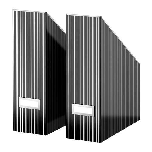 """KASSETT Magazine file, black, white Width: 4 """" Depth: 9 ¾ """" Height: 12 ½ """" Package quantity: 2 pack  Width: 10 cm Depth: 25 cm Height: 32 cm Package quantity: 2 pack"""