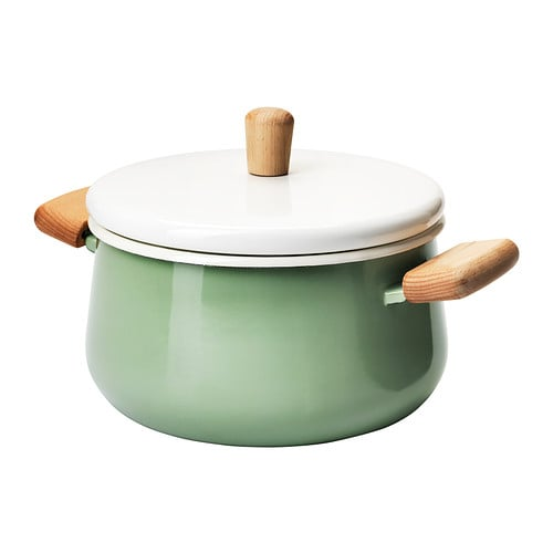 KASTRULL Pot with lid IKEA Made of enameled steel, which is durable and easy to clean.