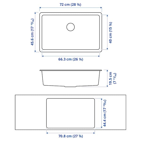 """KILSVIKEN Sink, black quartz composite, 28 3/8x18 1/8 """""""