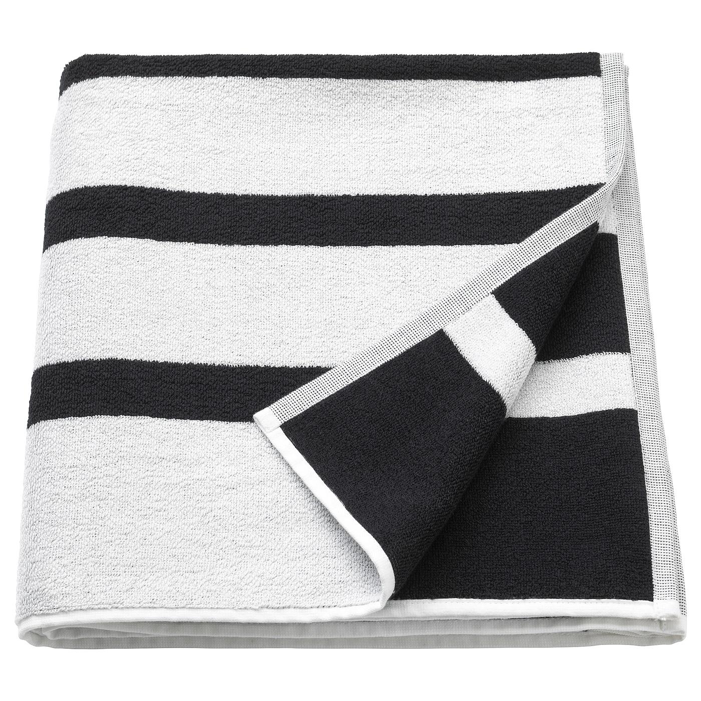 KINNEN Bath towel, white/black   IKEA