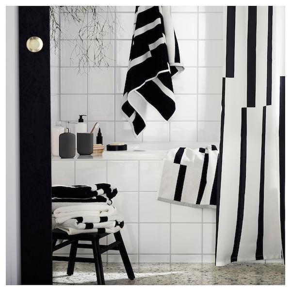 """KINNEN Shower curtain, white/black, 71x71 """""""