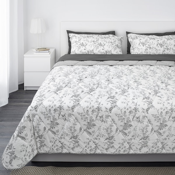 "KIRSKÅL comforter set, 7-pieces white/gray 178 /inch² 61 "" 81 "" 4 pack 30 "" 20 "" 94 "" 102 "" 92 "" 88 """
