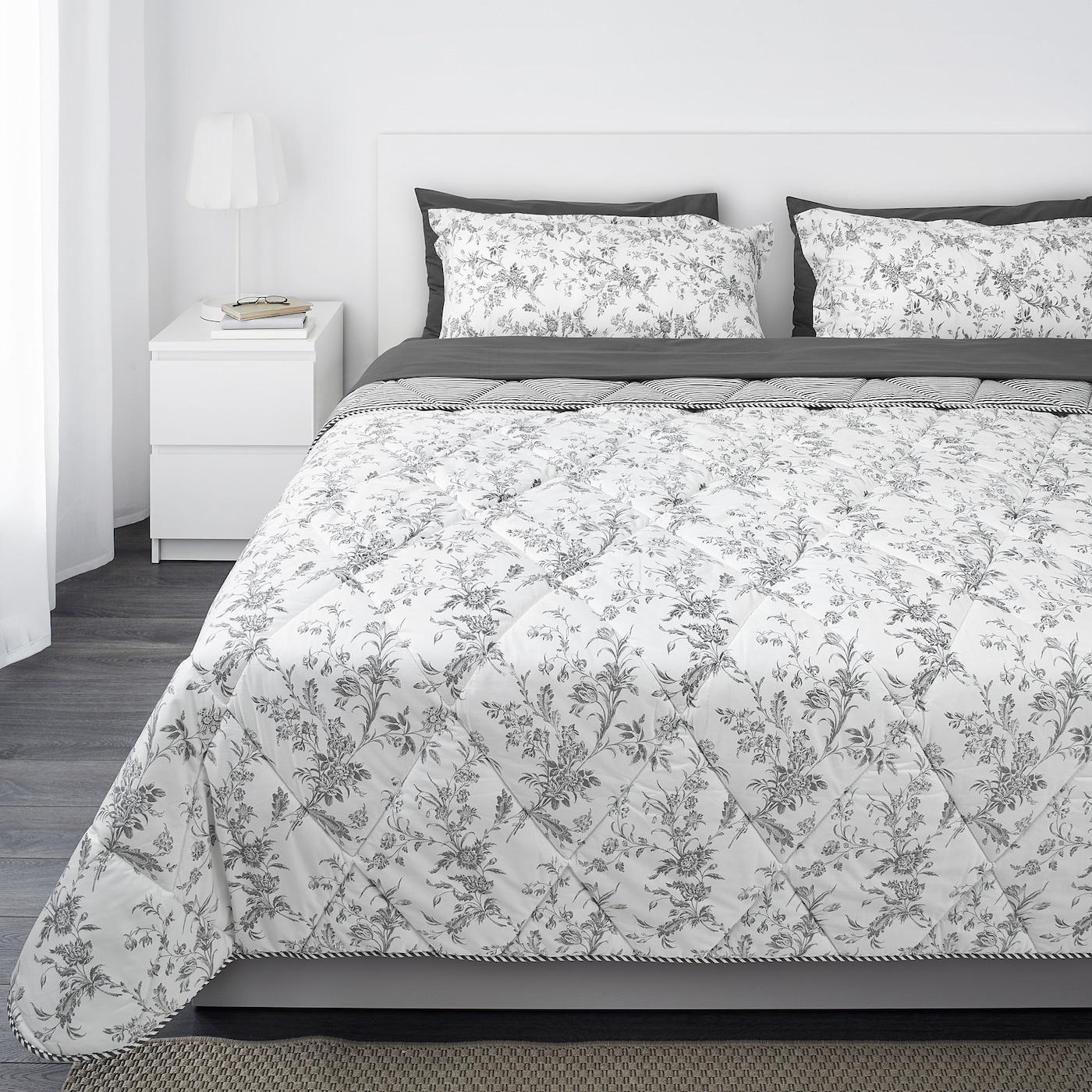 Kirskal Comforter Set 7 Pieces White Gray King Ikea