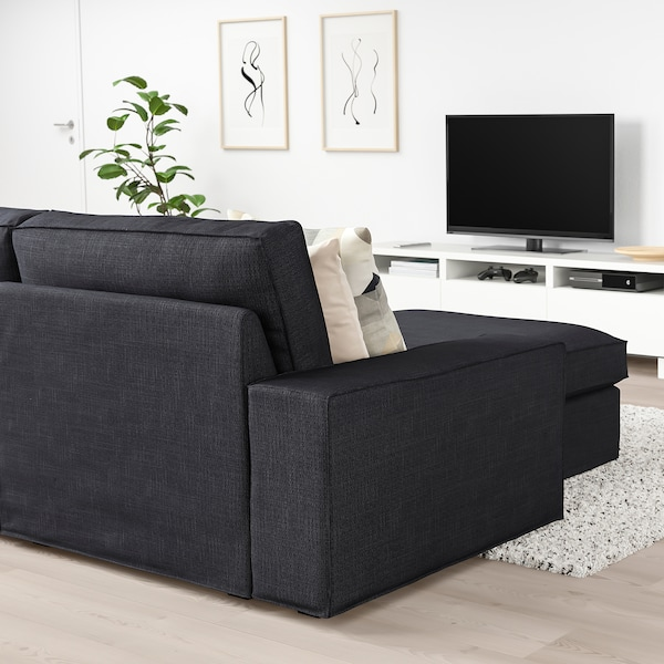"KIVIK sofa with chaise/Hillared anthracite 110 1/4 "" 32 5/8 "" 37 3/8 "" 64 1/8 "" 23 5/8 "" 48 7/8 "" 17 3/4 """