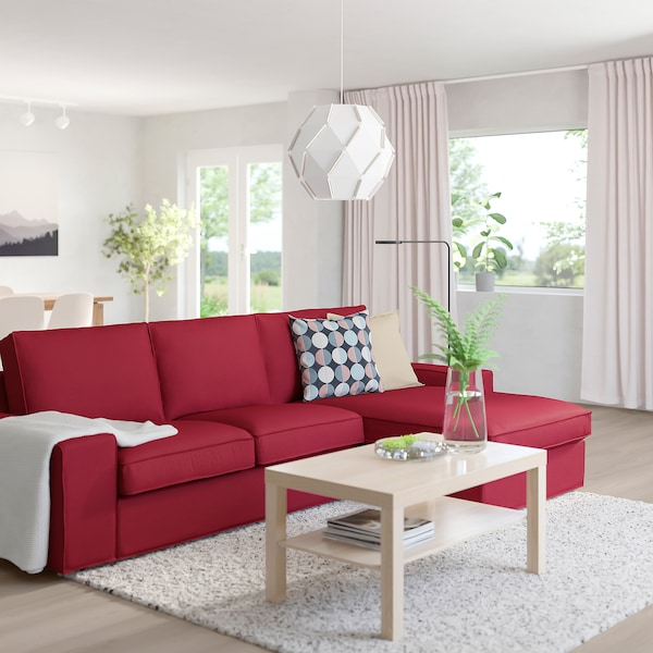 "KIVIK sofa with chaise/Orrsta red 110 1/4 "" 32 5/8 "" 37 3/8 "" 64 1/8 "" 23 5/8 "" 48 7/8 "" 17 3/4 """