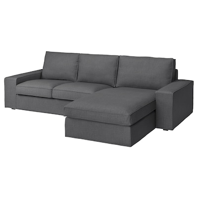 "KIVIK sofa with chaise/Skiftebo dark gray 110 1/4 "" 32 5/8 "" 37 3/8 "" 64 1/8 "" 23 5/8 "" 48 7/8 "" 17 3/4 """