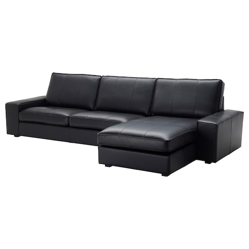 """KIVIK sectional, 4-seat with chaise/Grann/Bomstad black 125 1/4 """" 64 1/8 """" 32 5/8 """" 106 1/4 """" 23 5/8 """" 48 7/8 """" 17 3/4 """""""