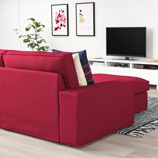 "KIVIK sectional, 4-seat with chaise/Orrsta red 125 1/4 "" 32 5/8 "" 37 3/8 "" 64 1/8 "" 23 5/8 "" 48 7/8 "" 17 3/4 """