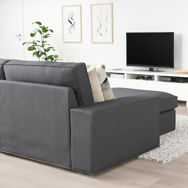"""KIVIK sectional, 4-seat with chaise/Skiftebo dark gray 125 1/4 """" 32 5/8 """" 37 3/8 """" 64 1/8 """" 23 5/8 """" 48 7/8 """" 17 3/4 """""""