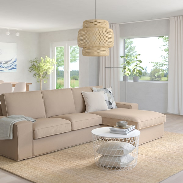 """KIVIK sectional, 4-seat with chaise/Tallmyra beige 125 1/4 """" 32 5/8 """" 37 3/8 """" 64 1/8 """" 23 5/8 """" 48 7/8 """" 17 3/4 """""""