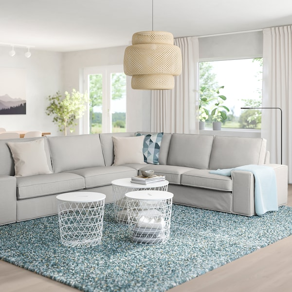 "KIVIK sectional, 5-seat corner Orrsta light gray 37 3/8 "" 32 5/8 "" 116 7/8 "" 101 1/8 "" 23 5/8 "" 17 3/4 "" 9 1/2 """