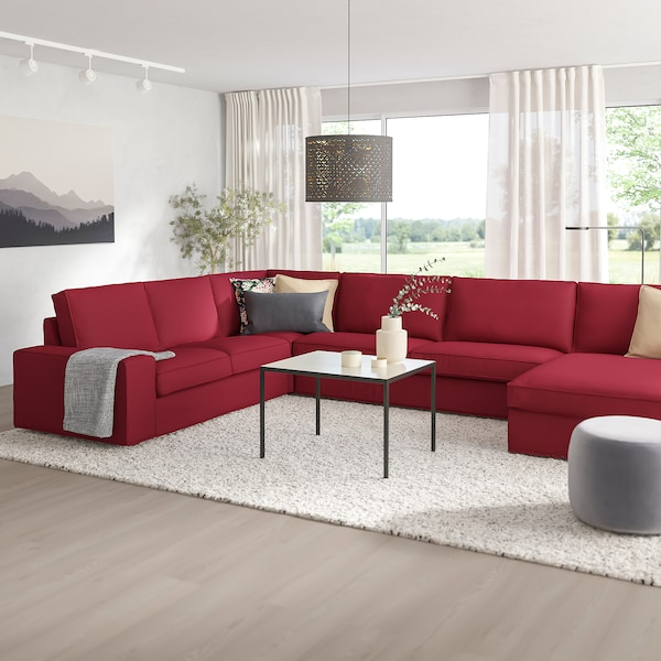 Sectional, 5-seat KIVIK with chaise, Orrsta red