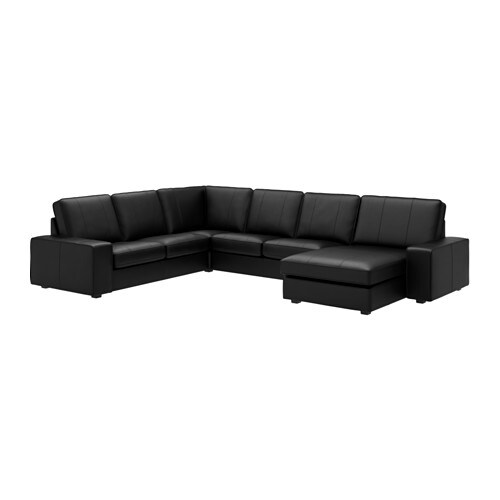 Kivik corner sofa 2 2 with chaise grann bomstad black ikea for Black fabric sectional sofa with chaise