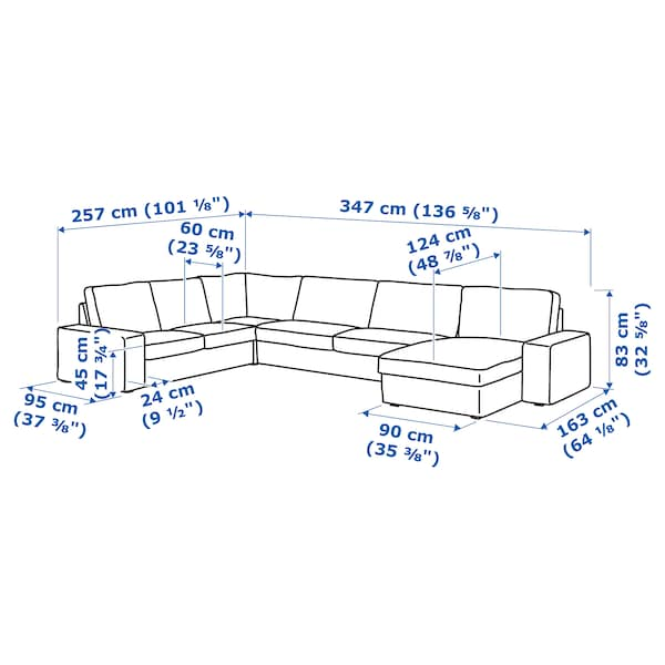 KIVIK Sectional, 5-seat corner, with chaise/Hillared beige