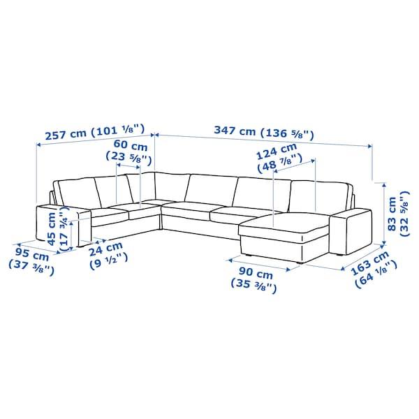 KIVIK Sectional, 5-seat corner, with chaise/Skiftebo dark gray