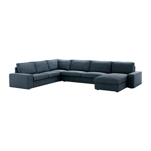 Kivik sectional 6 seat corner hillared dark blue ikea for U sofa med chaiselong