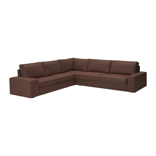 Kivik sectional 5 seat corner borred dark brown ikea - Kivik corner section ...