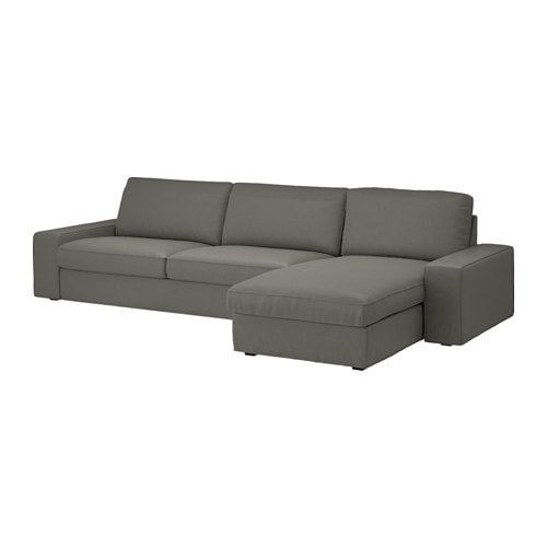 KIVIK Sectional, 4-seat, Borred with chaise, Borred gray-green with chaise/Borred gray-green
