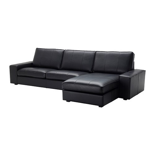 Kivik sofa and chaise lounge grann bomstad black ikea for Black leather chaise lounge sofa